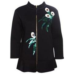 Marni Black Floral Sequin Embellished Zip Front Padded Jacket M