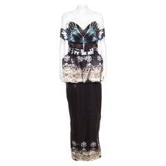 Mary Katrantzou Nebraska Printed Silk Satin Off Shoulder Peplum Maxi Dress M