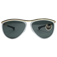 New Ray Ban Olympics Series White & Gold G15 Lenses 1992 B&L USA 80's Sunglasses