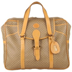 Gucci Vintage Tan GG Monogram Canvas Suitcase Travel Bag