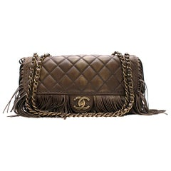 Chanel Brown Paris-Dallas Fringe Flap Bag Size 8