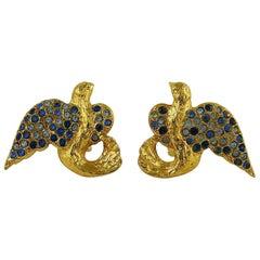 Yves Saint Laurent YSL Vintage Jewelled Birds Clip On Earrings