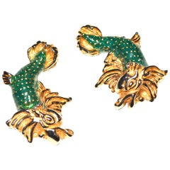 Cadoro Green Enamel Fish Earrings
