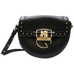 Balmain 44-18 Glove Black Leather Crossbody Bag w/Studs