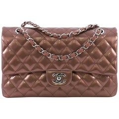 Chanel Classic Double Flap Bag Quilted Striated Metallic Patent Medium