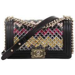 Chanel Mosaic Boy Flap Bag Embellished Lambskin Old Medium