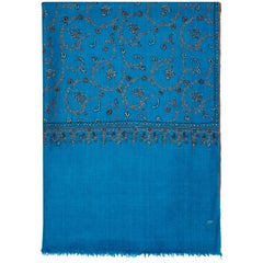 Limited Edition Hand Embroidered Cashmere Shawl in Blue Made in Kashmir - Gift