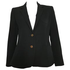 Pierre Cardin 1980s Black Wool Jacket Size 6.