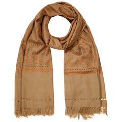 Hand Embroidered Cashmere Shawl in Tan Brown Made in Kashmir - Gift