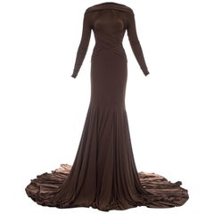 Guy Laroche brown viscose jersey pleated evening gown, S/S 2005