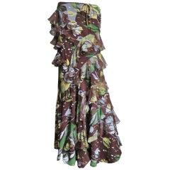 Christian Dior Silk Maxi Skirt with Ruffles