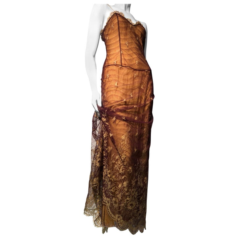 1930s Inspired Chloe Slip Gown In Yellow Silk W/ Burgundy Chantilly-Style Lace  For Sale