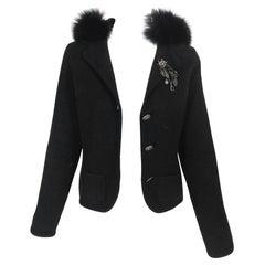 Prada Fur Hooded Knit Sweater