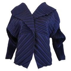Stunning 1990s Issey Miyake Dark Royal Blue Sculpural Jacket (M)+