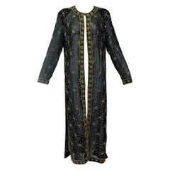 Sheer Beaded Black and Gold Indian Kaftan, 1980s
