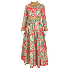 Vintage Oscar De La Renta Red and Green Brocade Dress