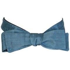 Men's Raw Cornflower Blue Silk Slim Bow Tie – Chicago, 1970s