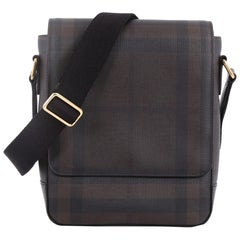Burberry Greenford Crossbody Bag Smoked Check Coated Canvas