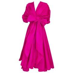 Vintage Oscar De La Renta Magenta Silk Dress