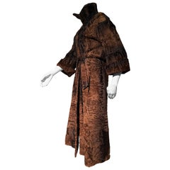 1970s Windsor Royal Chocolate & Caramel Brown Swakara Fur Maxi Coat