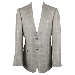 BRIONI 40 Light Gray & Gold Window Pane Wool / Silk Notch Lapel Sport Coat