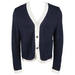 BLACK FLEECE Size S Navy & White Cotton Cardigan
