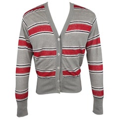 BLACK FLEECE Size S Gray & Stripe Cotton / White Mesh Reversible Cardigan