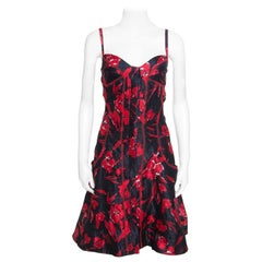 Oscar de la Renta Black and Red Floral Print Embroidered Sleeveless Sundress M