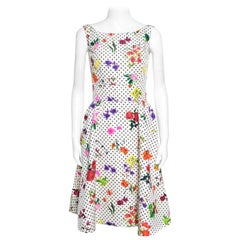 Oscar de la Renta Botanical Dot Printed Silk Sleeveless Dress S
