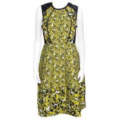 Oscar de la Renta Yellow and Black Embossed Floral Jacquard Lace Detail Dress L
