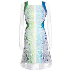 Peter Pilotto Beam Print Cutout Orchid Lace Overlay Sleeveless Sheath Dress M