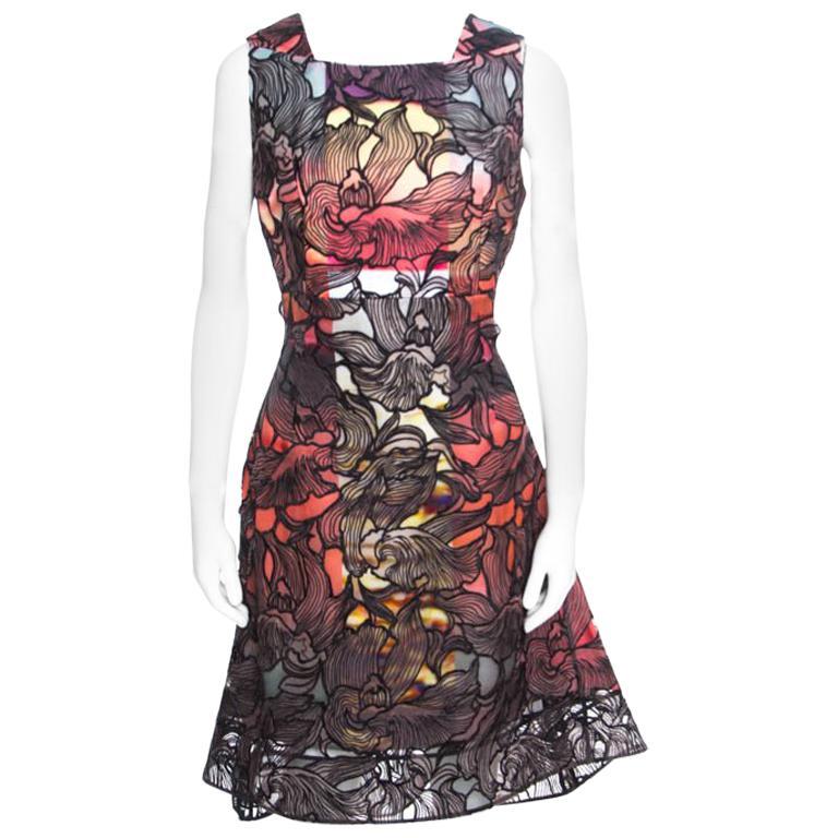 Mehrfarbiges Kleid mit Floralem Spitze-Overlay von Peter Pilotto, M ... 0e726f11e2