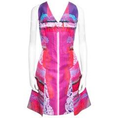 Peter Pilotto Pink Orchid Beam Print V Neck Sleeveless Angle Dress M