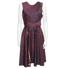 Prabal Gurung Floral Printed Cotton Pleat Front Sleeveless Midi Dress M