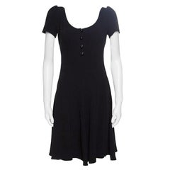 Prada Black Crepe Paneled Dress S