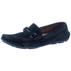 Prada Navy Blue Perforated Suede Loafers Size 40.5