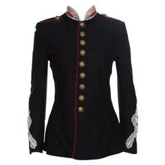 Ralph Lauren Black Cotton Twill Metallic Cord Embellished Military Jacket S