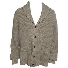 Ralph Lauren Brown Chunky Cable Knit Shawl Collar Cardigan XL