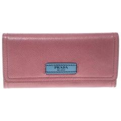 Prada Pink Leather Etiquette Continental Wallet