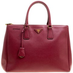 Prada Burgundy Saffiano Lux Leather Large Double Zip Tote
