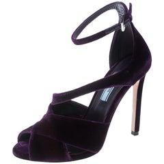 Prada Purple Velvet Criss Cross Ankle Strap Sandals Size 36