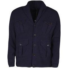 Ralph Lauren Navy Blue Cashmere Leather Elbow Patch Detail Cardigan L