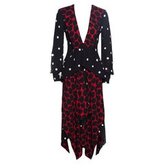 Proenza Schouler Red and Black Printed Draped Detail Asymmetric Dress S