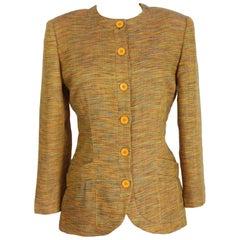 1990s Missoni Yellow Linen Classic Jacket Blazer