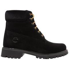 Off-White + Timberland Logo Embossed Velvet Ankle Boots