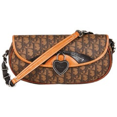 CHRISTIAN DIOR Shoulder Bag in Brown Monogram Canvas and Two-Tone Leather