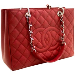 "CHANEL Caviar GST 13"" Grand Shopping Tote Chain Shoulder Bag Red"