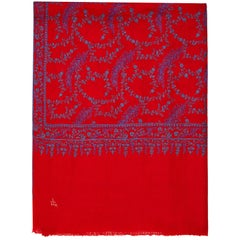 High Quality Hand Embroidered 100% Cashmere Shawl in Red & Blue Made in Kashmir