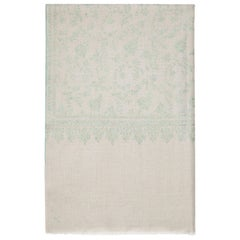 Hand Embroidered Grey & Aqua 100% Cashmere Shawl made in Kashmir - Gift
