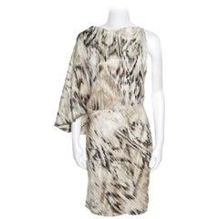 Roberto Cavalli Beige Metallic Printed Silk Asymmetric Sleeve Detail Dress M